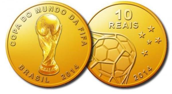 Moeda Comemorativa em Ouro da Copa no Brasil
